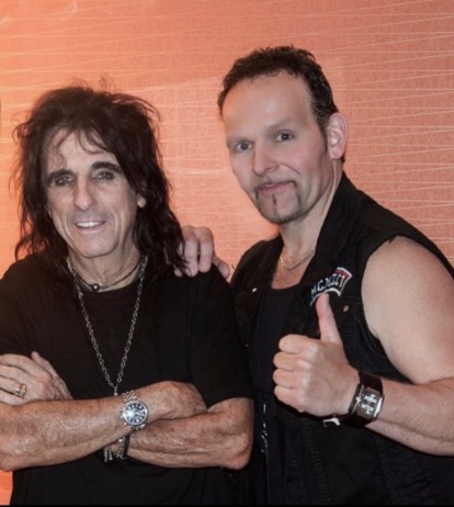 Photo shows Alex Ziwak (right) with Alice Cooper (left)