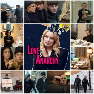 Image shows photo montage of scenes from Love & Anarchy. Centre photo is theatrical poster.