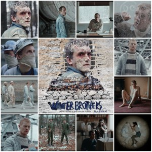 Image shows a photo montage of scenes from Winter Brothers. Central photo is the theatrical poster for the film.