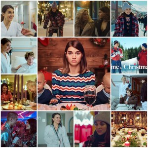 Image is a photo montage of various scenes from Home for Christmas. Central photo is the theatrical poster for the show.