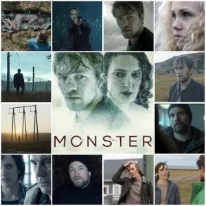 Image is a photo montage of scenes from Monster. The central image is a theatrical poster for the show.