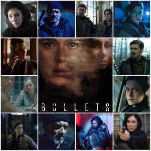 Image shows scenes from Bullets. Central image is a theatrical poster for the show.