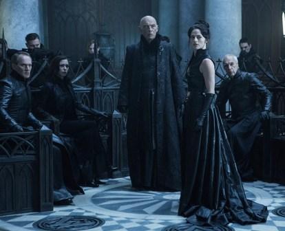 Scene from Underworld: Blood Wars Brian Caspe with James Faulkner, Jan Nemejovsky, Zuzana Stivínová and Lara Pulver.