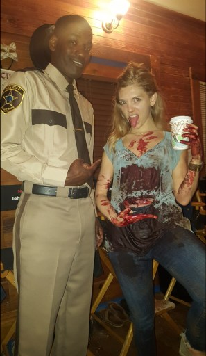 Derek Roberts (left) with Carlson Young (right) behind the scenes of Scream the Series