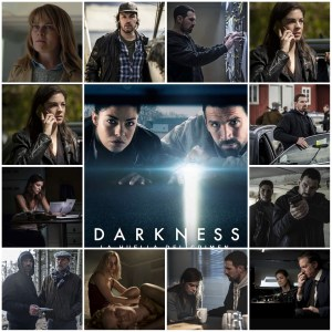 Photo montage off scene from Darkness: Those Who Kill. Central Image is the theatrical poster for the show.