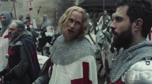 Jim High in a scene from Knightfall with Tom Cullen