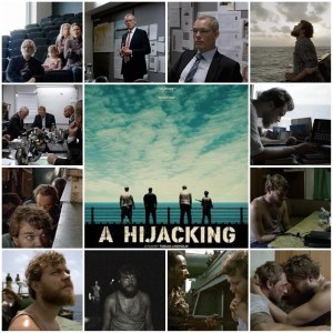 Photo montage of scenes from A Hijacking. Central image is the theatrical poster for the film