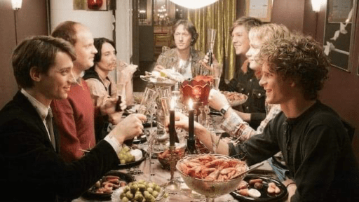 Christmas dinner scene from Don't Ever Wipe Tears Without Gloves