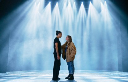 Fredrik Quiñones as Victor (left) and Molly Nutley as Dylan (right) in Dancing Queens