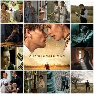 Photo montage of scenes from A Fortunate Man. Central image is the theatrical poster for the film.