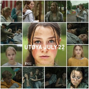 Photo montage of scenes from Utoya - 22 July. Central image is the theatrical poster for the film