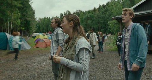 Brede Fristad as Petter (right) with Andrea Berntzen as Kaja (centre) and Aleksander Holmen as Magnus left in a scene from Utøya- July 22