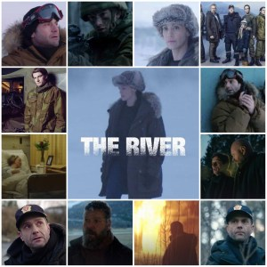 Photo montage of scenes from The River. Central image is the English-language poster for the show.