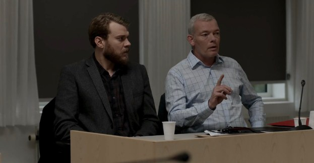 Søren Malling (right) as Martin R. Olsen and Pilou Asbæk (left) as Claus M. Pedersen in a courtroom scene from A War