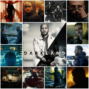 A montage of scenes from Darkland. Central image is the theatrical poster for the film.