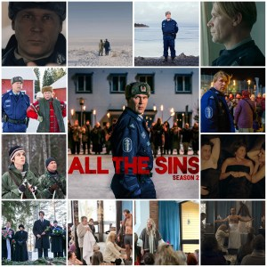 A photo montage of scenes from All the Sins S2. Central image is the theatrical poster for the show.