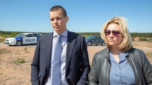 Johannes Holopainen (Lauri Räihä) left and Maria Sid (Sanna Tervo) right in a scene from All the Sins