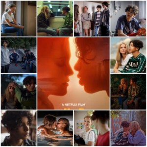 A photo montage of scenes from JJ+E. The central image is the theatrical poster for the film.