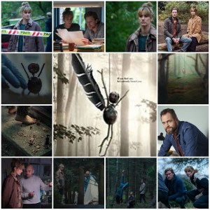 Photo montage of scenes from The Chestnut Man. Central image is the theatrical poster for the show.