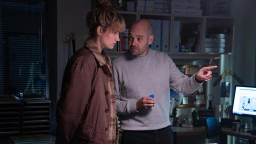 David Dencik (right) as Simon Genz with Danica Curcic (left) as Naia Thulin in a scene from The Chestnut Man