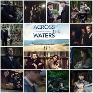 A photo montage of scenes from Across the Waters. Central image is the theatrical poster for the film