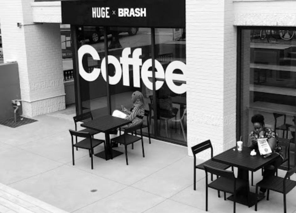 Huge, BRASH open smart coffee shop for public