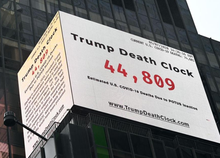 Filmmaker hangs Trump 'Death Clock' in Times Square