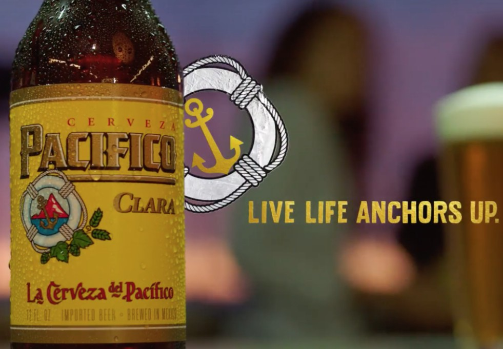 "Pacifico's new campaign advises, ""live life anchors up"""