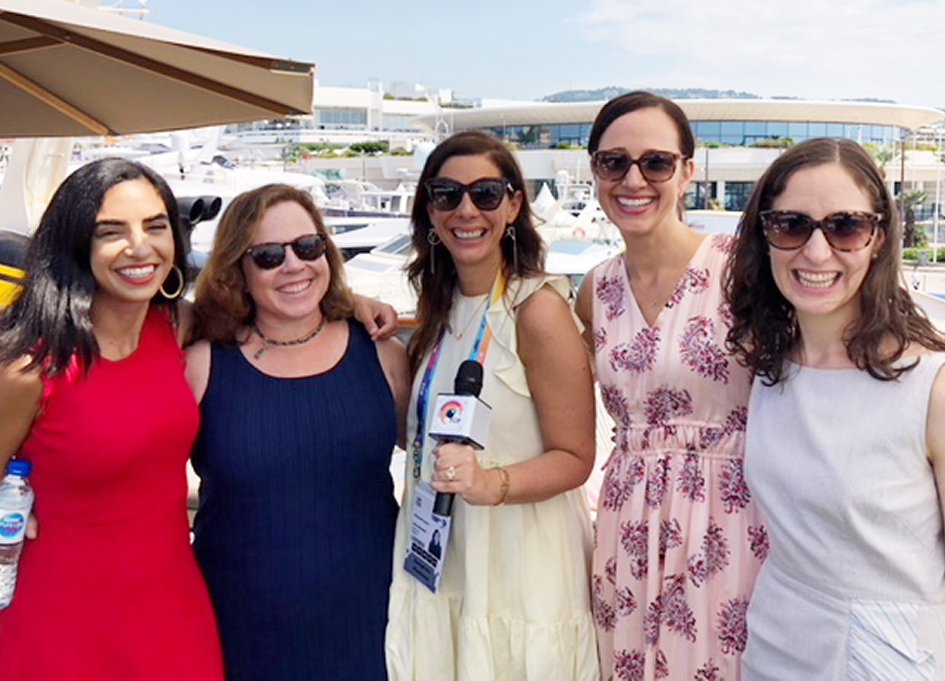 CNET's Sharon Profis, 3% Movement's Kat Gordon, FCB's Liz Taylor, AB InBev's Jodi Harris,, VP, Marketing Culture & Learning; and NYTims' Emily Steel in Cannes