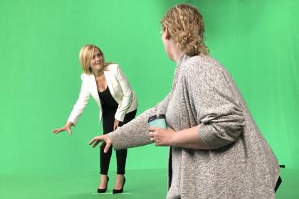 Sarofsky on set with Samantha Bee