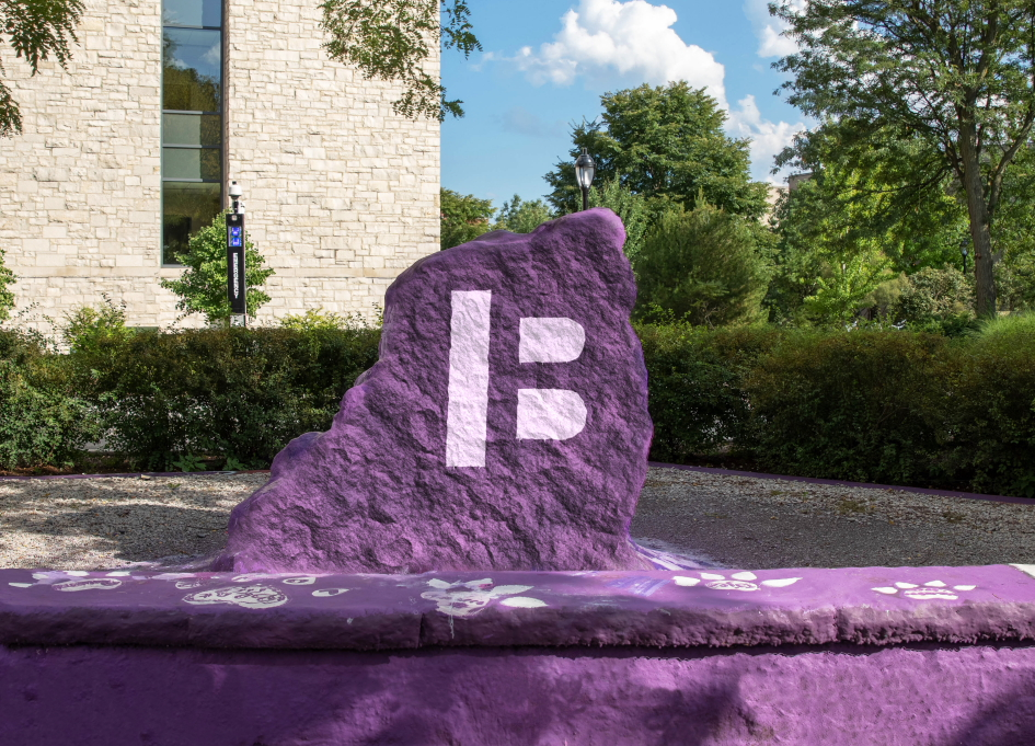 The Block Museum's new logo on a fountain in Northwestern University