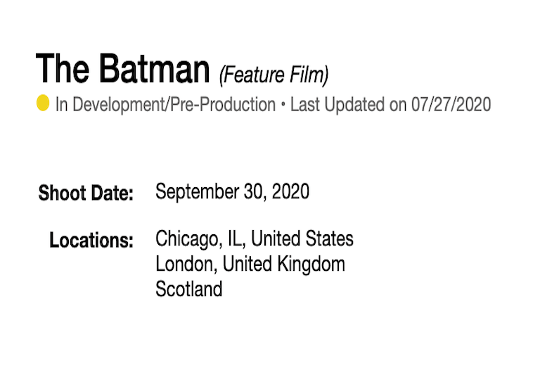 'The Batman' to shoot in Chicago September 30?
