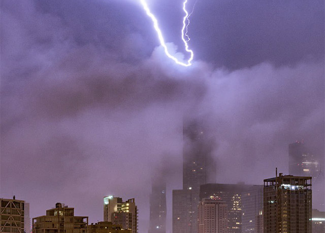 Lightning strikes Trump Tower before debate