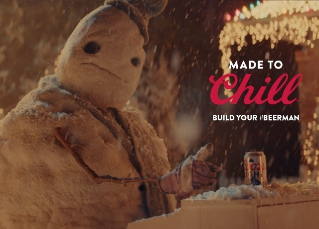 Snowman transforms into Beerman for Coors Light