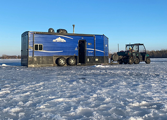 Stunt insurance for an 8000 pound RV on a frozen lake