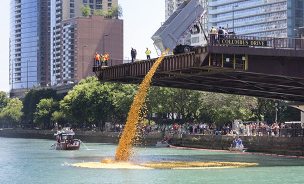 70,000 rubber ducks will splash into the Chicago River on Aug. 5