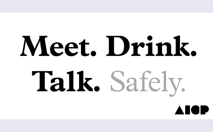 AICP event Meet. Drink. Talk. Safely.