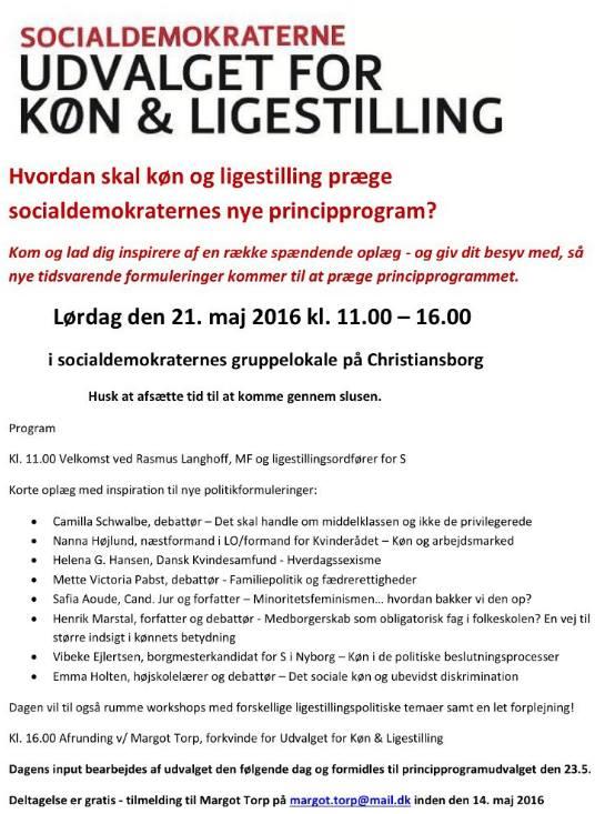 Invitationen til inspirationsmødet i Udvalget for Køn & Ligestilling.