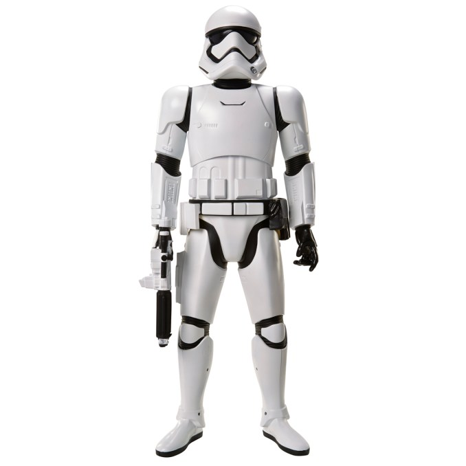 """Star Wars: The Force Awakens Big Figs 31"""" and 48"""" Licensee: JAKKS Pacific MSRP: $34.99 for 31""""; $99.99 for 48"""" Available: September 4 Our 31 inch Massive Big Figs have 5-7 points of articulation and a signature weapon ready for battle. Kylo Ren: A dark warrior strong with The Force, Kylo Ren commands First Order missions with a temper as fiery as his unconventional Lightsaber. First Order Stormtrooper: Equipped with sleep armor and powerful weapons, the Stormtroopers enforce the will of the First Order. Standing at a whopping 48 inches, our Colossal scale Big Figs are interactive with an amazing motion detection feature. When you enter the room, they will recognize your presence and respond with movie lines and sound effects. The Stormtrooper also has an additional elbow joint to allow him to pose with his blaster."""