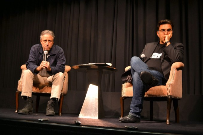 John and Mazier taking questions at the NYC Rosewater Press Junket. Photo by Liz Whittemore