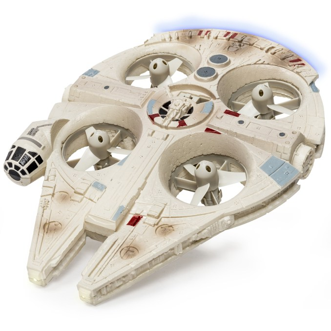 Star Wars Remote Controlled Millennium Falcon Quad..Licensee: Spinmaster.MSRP: $109.99.Available: September 4. .Fly the most iconic ship in the Star Wars universe! The Ultimate Millennium Falcon takes flight with the power of quad rotors concealed in the body of the ship. Its authentic lights and sounds bring the Millennium Falcon to life as you fly. Activate Hyperspace mode on the remote control and hold on for a fully loaded hyperspace journey. With 2.4GHz communication, you can control the Millennium Falcon up to 200 feet away! Join the rebellion and bring Star Wars home with the Millennium Falcon Quad from Air Hogs!.