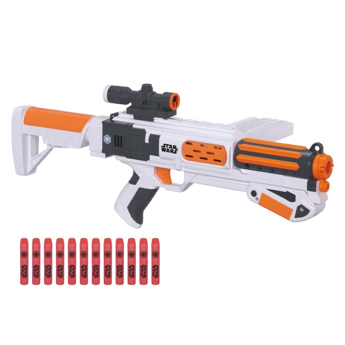 Star Wars NERF First Order Stormtrooper Deluxe Blaster..Licensee: Hasbro..MSRP: $39.99..Available: September 4..The fight to restore order to the galaxy comes home with the first-ever STAR WARS NERF blasters! Battle against the Resistance with this blaster that comes with a 12-dart clip, slam-fire action, removable sight, detachable stock and twelve NERF darts that fire up to 65 feet!..