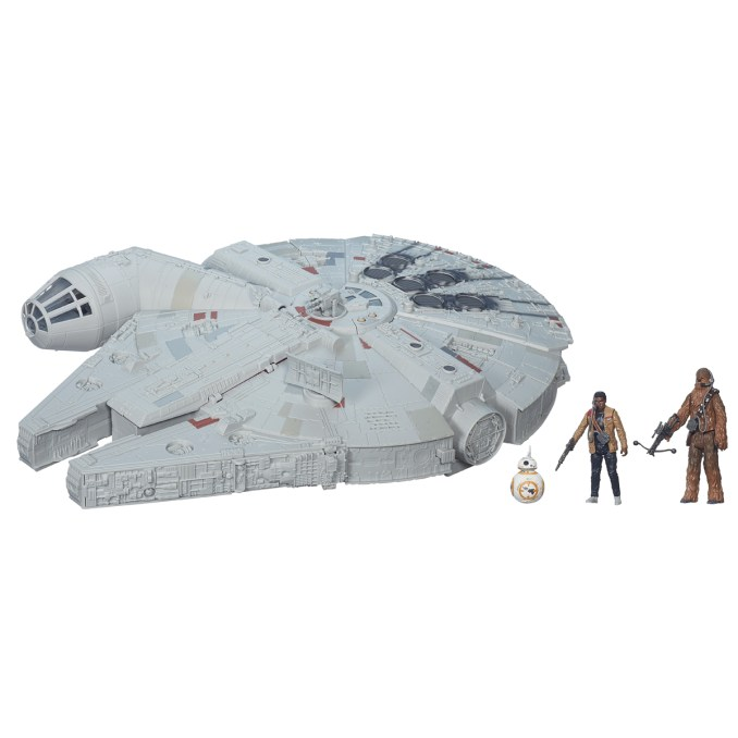 Star Wars: The Force Awakens Battle Action Millennium Falcon..Licensee: Hasbro.MSRP: $119.99.Available: September 4. .The fastest ship in the galaxy returns for STAR WARS: THE FORCE AWAKENS with Hasbro?s most innovative and action-packed Star Wars vehicle! The new BATTLE ACTION MILLENNIUM FALCON opens into a playset for your 3.75-inch scale Star Wars figures and features a pop-up blaster that fires NERF ELITE darts, a turbolaser turret, light-up LED cannons, hyperdrive sound effects, as well as a playset area featuring a holochess board and smuggling compartment! Also includes exclusive CHEWBACCA, FINN and BB-8 3.75-inch figures. Requires two AA batteries, not included. Other figures sold separately..