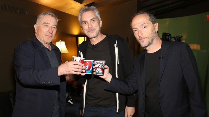 NEW YORK, NY - APRIL 20: (L-R) Actor Robert De Niro, director Alfonso Cuaron and director, cinematographer Emmanuel Lubezki attend Tribeca Talks Directors Series: Alfonso Cuaron at SVA Theatre 1 on April 20, 2016 in New York City. (Photo by Monica Schipper/Getty Images for Tribeca Film Festival)