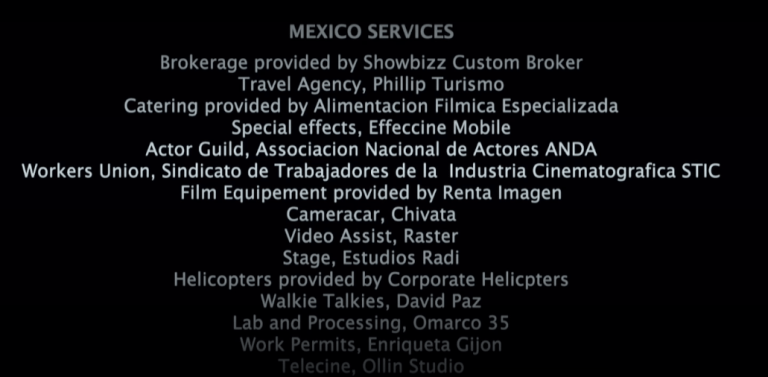 Credits from the movie Julia (2009) showing some credits from Mexico