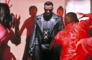 A screenshot from the introductory fight scene in Blade, the 1998 Marvel horror superhero film starring Wesley Snipes, Stephen Dorff and N'Bushe Wright. Directed by Stephen Norrington.