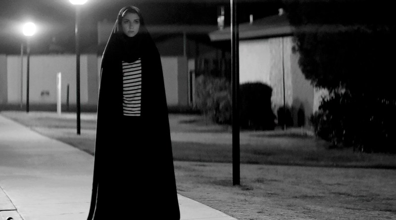 Screenshot from the 2014 horror noir drama film A Girl Walks Home Alone At Night, starring Sheila Vand, Arash Marandi and Marshall Manesh. Directed by Ana Lily Amirpour.