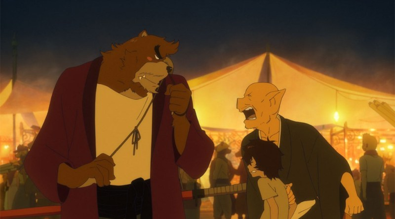 Pictured are the lead characters from the 2015 anime film, The Boy and The Beast (Bakemono no Ko)