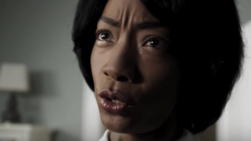 An extreme close up of Betty Gabriel in the 2017 horror movie, Get Out.