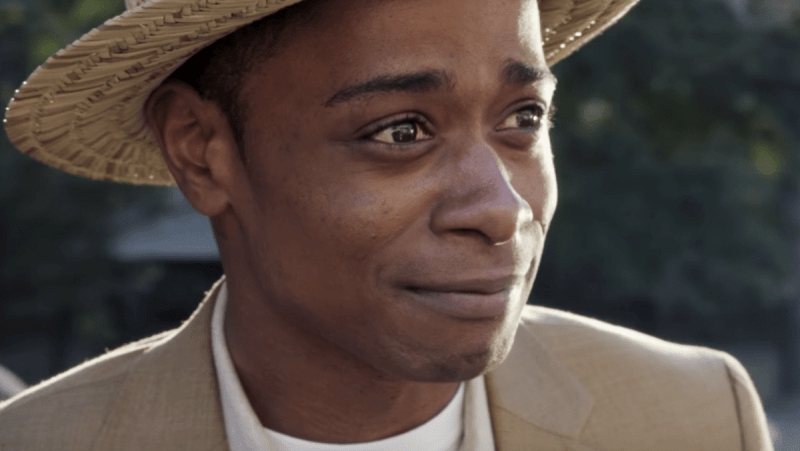 A close up shot of Lakeith Stanfield in the 2017 horror film Get Out.